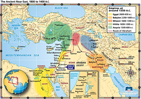 Map of Ancient Near East Empires, 1350 BCE