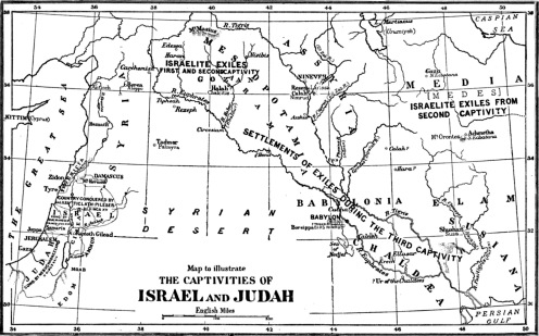 Map of where tribes Israel and Judah taken captive 585 BCE