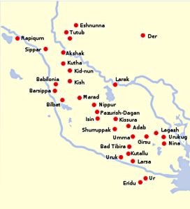 Map: Ancient Cities of Sumer by Crates, 2008, based on map by John D. Croft, 2006. From Wikibooks, the open-content textbooks collection.