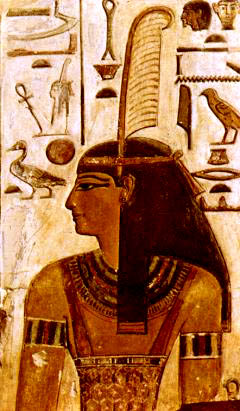 Goddess Ma'at wearing the feather of truth. Wikimedia Commons. Public Domain.